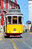 Yellow Tram in Alfama, Lisbon Stock Photography