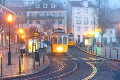 Yellow 28 tram in Alfama, Lisbon, Portugal Royalty Free Stock Images