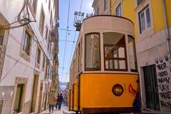 Yellow Tram in Bairo Alto Lisbon Portugal Stock Images