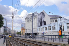 Yellow tram at Berlin Alexanderplatz. Stock Images