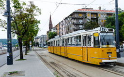 Yellow Tram, Budapest, Hungary Stock Photography