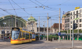 Yellow tram on Centralbahnplatz square in Basel Royalty Free Stock Images