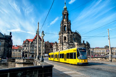 Yellow tram at the centre of Dresden. Germany Stock Photography