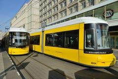 Yellow tram in city street, Berlin Stock Image