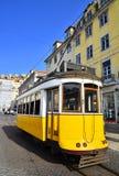 Yellow Tram, Lisbon royalty free stock photography