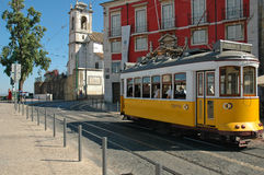 Yellow Tram in Lisbon. Yellow Tram in Alfama, Lisbon Royalty Free Stock Image