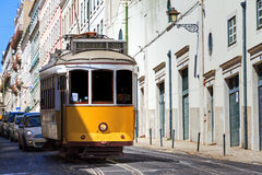 Yellow tram Lisbon Royalty Free Stock Image