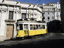 Yellow tram in Lisbon Stock Photos