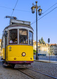 Yellow tram of Lisbon Royalty Free Stock Images