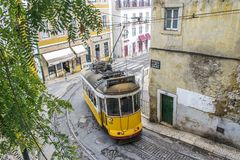 Yellow tram 28 in Lisbon stock photo