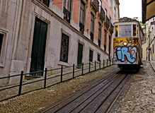Yellow tram in lisbon Royalty Free Stock Images