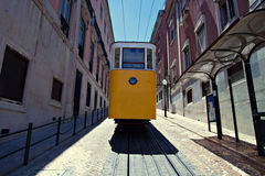 Yellow tram in Lisbon, Portugal. Classic tram in Lisbon, Portugal Stock Photo
