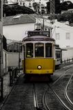 Yellow tram of Lisbon in Portugal royalty free stock photography