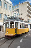 Yellow tram in Lisbon, Portugal Stock Images