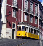 Yellow tram, Lisbon, Portugal Stock Photos
