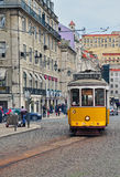 Yellow tram in Lisbon, Portugal Royalty Free Stock Image