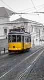 Yellow Tram, Lisbon, Portugal Stock Photo