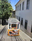Yellow tram in Lisbon Stock Image