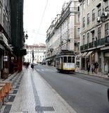 Yellow Tram in Lisbon Stock Photos