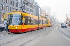 Yellow tram Royalty Free Stock Photo