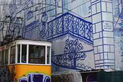 Yellow tram. Painted with graffiti stock images