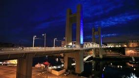 Yellow tram passes over the Recouvrance Bridge stock footage