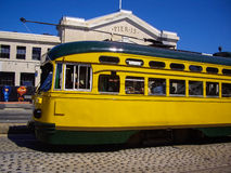 Yellow Tram at Pier 15 in San Francisco, California USA Stock Photo