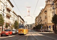 Tram, Budapest, Hungary Pest side 2018 stock photos