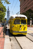 The yellow tram in San Francisco Royalty Free Stock Photos