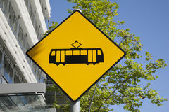 Yellow Tram Sign Royalty Free Stock Photo