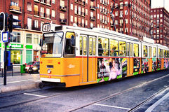 Yellow tram at the stop. In Budapest, Hungary. Photo taken on: Oktober 2011 Royalty Free Stock Image
