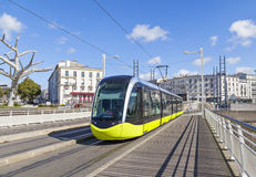 Yellow tram on the street of Brest, France Stock Images