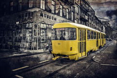 Yellow tram on streets of Sarajevo, Bosnia and Herzegovina Royalty Free Stock Photography