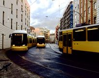 Yellow trams in Berlin Royalty Free Stock Images