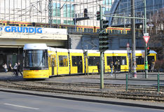 Yellow trams of Berlin Royalty Free Stock Images