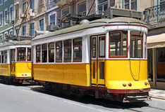 Yellow trams in Lisbon Stock Photography