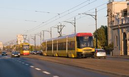 Yellow Trams in Warsaw Royalty Free Stock Photography