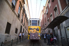 Yellow tramway in Porto, Portugal Royalty Free Stock Photo