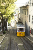 Yellow tramway in Porto, Portugal Stock Images
