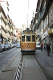 Yellow tramway in Porto, Portugal Royalty Free Stock Photos