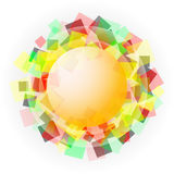 Yellow translucent sphere with colored squares Royalty Free Stock Image