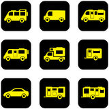 Yellow transport set on black icons Royalty Free Stock Photos
