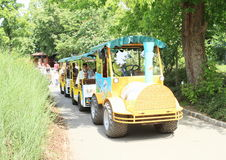 Yellow transportation train in Prague ZOO Stock Image