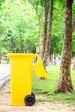 Yellow Trash Bin Royalty Free Stock Photography