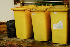 Yellow trash. Throw the bad thing to the trash, dont keep it in you head stock photo