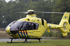 Yellow trauma helicopter Royalty Free Stock Images