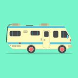Yellow travel camper van isolated on green. Background. concept of outdoor recreation and travel around the world. flat style design trendy modern vector Stock Image