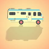 Yellow travel camper van with shadow. Isolated on stylish background. flat style design modern vector illustration Stock Images