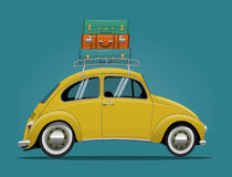 Yellow Travel Car. Funny Cartoon Styled Vector Illustration Royalty Free Stock Images
