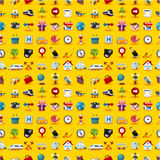 Yellow  Travel Icons Seamless Pattern Stock Image